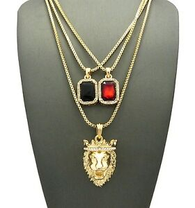 NEW MENS HIP HOP KING LION ANGEL RED RUBY ONYX PENDANT 3 THREE CHAIN NECKLACE