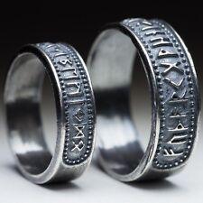 Elder Futhark Runes Ring, sterling silver