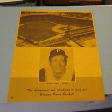 1967 Pittsburgh Pirates Baseball Season Ticket Plan Flyer Manager Harry Walker