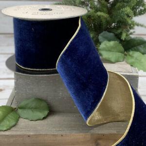 """D Stevens 2.5"""" x 5YD Wired Christmas Thanksgiving Ribbon Velvet Gold royal blue"""