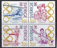 OLYMPICS :SWEDEN 1992 Olympics  Gold Medallists 3 SG1635-8 MNH se-tenant block