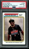 2018 Topps Throwback Thursday #196 Mookie Betts SP PSA 10 Gem Mint Card