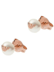 Emporio Armani Ohrringe Damen Ohrstecker Silber 925 Rose weiß Perle EG3491221