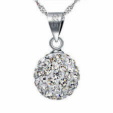 Women 925 Sterling Silver Plated Crystal Ball Choker Sweater Pendant Necklace