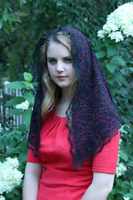 Black & Red  Floral/Scrollwork Traditional Catholic Lace Mantilla Chapel Veil