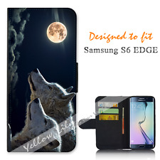Samsung Galaxy S6 EDGE Wallet Flip Phone Case Cover Wolf Clouds Y00768