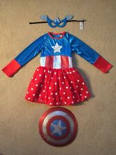 **Captain America Girl** Deluxe Marvel • Fancy Dress • Girls Costume • Size 5-6