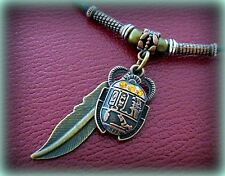 EGYPTIAN NEcklace JEWELRY Pendant ART DECO Vintage look SCARAB Beetle w/ Feather