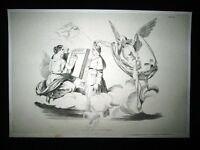 Incisione d'allegoria e satira Papa Pio IX, Roma, Italia Don Pirlone 1851