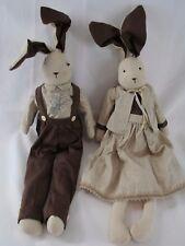 "Bunny Rabbit Plush Pair Boy & Girl 21"" Linen Clothes Easter Decorations"