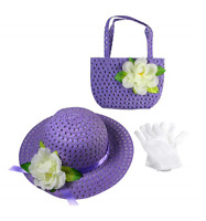 Girls Tea Party Dress Up Set Purple Hat Purse White Gloves BIRTHDAY HALLOWEEN