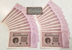 20 GERMAN 100,000 MARK 1923 NOTES (CONSECUTIVE SERIAL NUMBERS !!) NO RESERVE