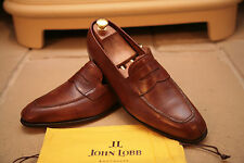 John Lobb Ashley Handmade Brown Museum Calf Loafers Shoes Size UK 8.5
