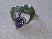 Sterling Silver Modern Heart Ring,  Lab Opal and Amethyst, sz 10.5, AK