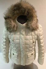 Juicy Couture  Size Large Women's Ivory Quilted Short Puffer Jacket Down