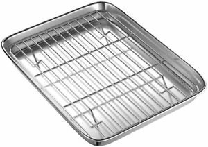 Toaster Oven Tray and Rack Set, Small Stainless Steel Baking Pan Cooling Rack