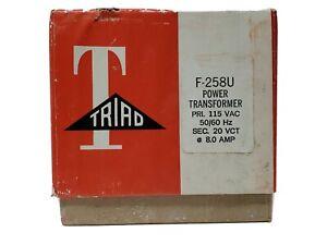 TRIAD F-258U Power Transformer Primary 115 VAC 50/60 Hz Sec 20 VCT @ 8 Amp NEW!