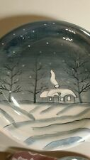 """SET OF 4 IRIDESCENT 8"""" CHRISTMAS/WINTER SNACK PLATES PEACEFUL SNOW SCENE VG COND"""
