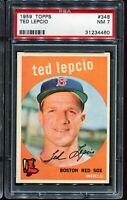 1959 Topps Baseball #348 TED LEPCIO Boston Red Sox PSA 7 NM