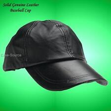 New Black Solid Genuine Leather Baseball Cap Hat