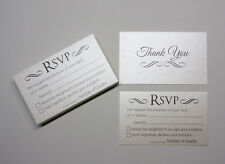 40 RSVP CARDS reply for wedding invitations White Gold Metallic cards