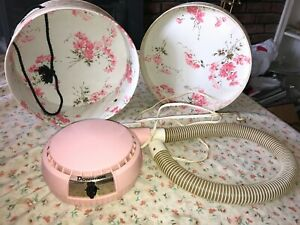 DOMINION Bonnet Pink Portable Hair Dryer w Travel Case Model 1815 Tested & Works