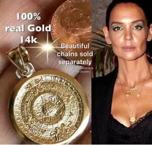 14k GOLD Aztec solid Pendant Charm