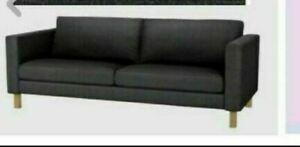 "IKEA Karlstad 3 Seat Sofa Sivik Dark Gray Cover NEW Grey 80-3/4""Denim Look""RARE"