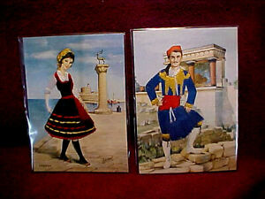 TWO EMBROIDERED SILK POSTCARDS BY ISABEL, #2-RHODOS, AND #6-CRETE, NEW COND.