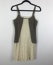 6fd783e3381 Kensie Junior Slip Dress Taupe Ivory Lace Adjusting Spaghetti Straps Size S  NWOT