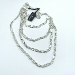 """Karine Sultan Silver Hammered Necklace 4 Chain Layered 21"""" Adjustable"""