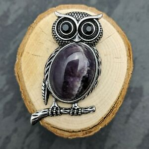 Antique Silver Tone Owl Amethyst Pendant On Silver Plated Necklace Or Brooch