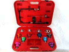14 PC Radiator Pump Pressure Leak Tester Checker Kit Aluminum Adapter w/ Case