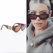 21659573e4101 GIANNI VERSACE Vintage brown tortoise angular cateye gold Medusa sunglasses