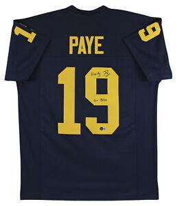 "Michigan Kwity Paye ""Go Blue"" Signed Navy Blue Pro Style Jersey BAS Witnessed"