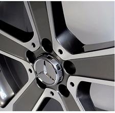 Mercedes AMG X 4 casquillos de centro de rueda de plata 75MM se adapta a C E M A Clase C63 C43 E63