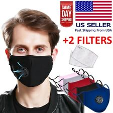 Reusable Washable Cloth Face Mask w/ Air Port + 2 PM2.5 Carbon Filters