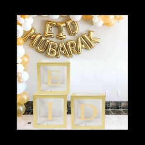 Gold Eid transparent balloon box includes 10 balloons decoration  Mubarak,