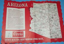 Arizona Coors Beer  Paper Placemat Map Vintage Advertising Print Red White