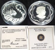 2010 YEAR OF THE TIGER CANADA $15 SILVER COIN .WITH COA