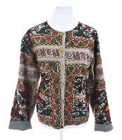 Sacred Threads Colorful Yarn Soutache Floral Cardigan Jacket Women Sz M / L