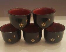 JAPANESE LACQUER WARE SET OF 5 GUINOMI SAKE CUPS BLACK GLAZE GOLD FLORAL