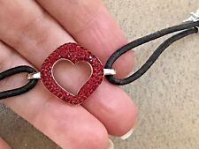 """Swarovski red crystal and silver tone with black  double cord 6"""""""