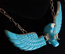 Turquoise Landing Eagle Necklace carved with hinged wings ~ LARGE NK2E