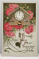 New Year Cuckoo Clock Embossed Flowers 1909 to Carthage Missouri Postcard G14