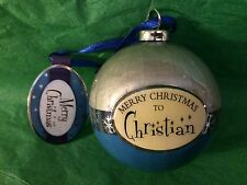 MERRY CHRISTMAS to CHRISTIAN Paper Mache Ball Ornament STOCKING STUFFER GIFT