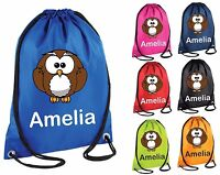 Personalised Owl 2 Gym Bag Swim Nursery Drawstring School PE Kit Sports Kids