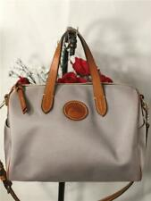 Dooney and Bourke Grey Canvas Brown Leather Trims Speedy Bag with Shoulder Strap