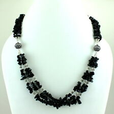 NATURAL BLACK ONYX CHIPS GEMSTONE BEADED BEAUTIFUL NECKLACE 61 GRAMS