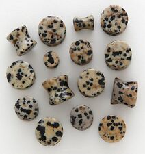 1 Pair 0g Organic Dalmatian Jasper Stone Saddle Plugs Ear Zero Gauge 8MM